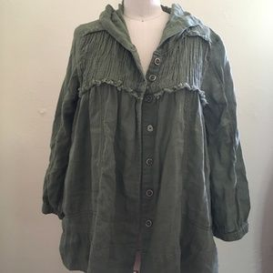 Free People Hooded Button Down Top/Jacket